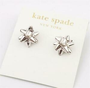 New Kate Spade New York Silver Bourgeois Bow Stud Earrings