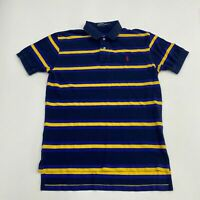 Polo Ralph Lauren Polo Shirt Men's Size M Short Sleeve Navy Blue Yellow Striped