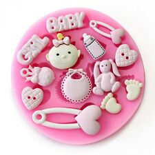 Baby Shower-Baby Girl-Party 3D Stampo in Silicone Fondente Decorazione Torte Topper