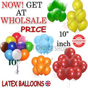 "100 LARGE PLAIN 10"" BALLOONS BALLONS helium BALLOONS Quality Bday Wedding UK"