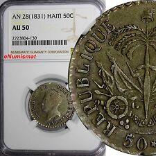 HAITI J.P.BOYER PRESIDENT Silver (1831) // AN 28 50 Centimes NGC AU50 KM# 20