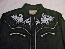 Men's Vintage ROPER Long Sleeve Western Shirt Sz 2XL Black Embroidered wStuds