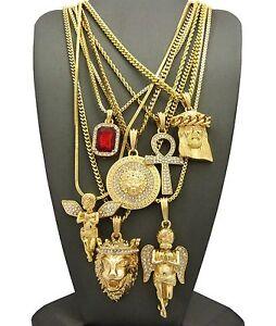 Hip Hop Ruby, 2 Angels, Jesus, Lion, Medusa, Ankh Pendant 7 Necklace Set GB112G