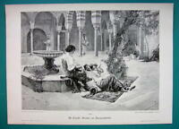 HAREM ODALISQUES Siesta in Curt near Fountain - VICTORIAN Era Print