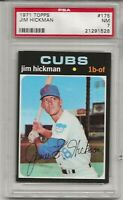 1971 TOPPS #175 JIM HICKMAN, PSA 7 NM, CHICAGO CUBS, L@@K !