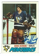 Autographed 1977-78 Topps DENIS HERRON Pittsburgh Penguins Card#119 wShow Ticket