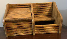 Vtg Oak Index Card or Recipe File Box & Condiment Holder ~ Holds 3x5 Cards