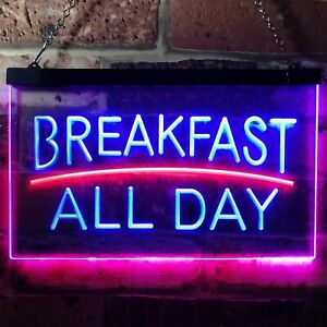 Breakfast All Day Open Restaurant Café Dual Color LED Neon Sign st6-i0311