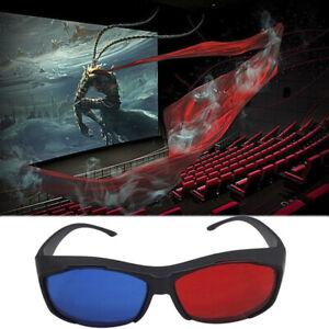 Red Blue 3D Glasses Black Frame For Dimensional Anaglyph TV Eovie DVD GaS5