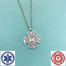 """Firefighter & EMT Symbol Charm Stainless Steel 18"""" Chain Necklace."""