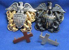 Vietnam War Navy Naval Officer Hat Badges & Chaplain Cross Insignia Lot Of 4