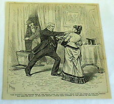 1880 magazine engraving ~ NOT GUILTY Man forces evidence of innocence from woman