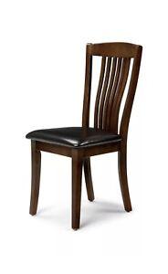 2x Julian Bowen Canterbury Solid Wood Mahogany Finish Dining Chair