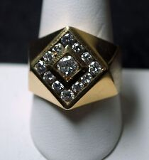 14 K GOLD 1.3 CARAT DIAMOND RING SIZE 9 3/4