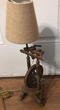 Vintage Spinning Wheel Table Lamp Light !