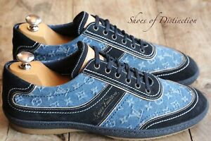Rare Louis Vuitton BLue Suede Denim Monogram Trainers Sneakers UK 7.5 US 8.5