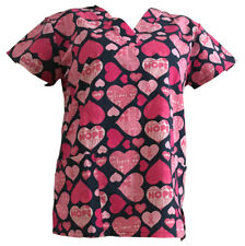 Women's Fashion Medical Nursing Scrub Tops Black Base Pink Heart Ribbon S