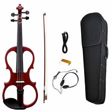 N-A-O-M-I Violin Solid Wood 4/4 Electric / Silent Violin +Bow +Case #5 Dark Red