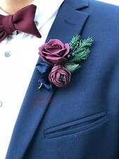 Burgundy boutonniere.Christmas wedding boutonniere.