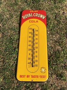 VERY NICE Large 1940's Royal Crown Cola Soda Thermometer/ Sign - WORKS - WOW !!!