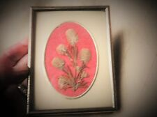 SMALL BRASS TONE METAL FRAME WITH PRESSED RABBIT FOOT CLOVER LEAVES FLOWERS