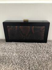 Sondra Roberts NWT Brown Imitation Snake Skin Box Clutch/Purse/Handbag. SR112