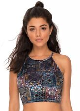 BNWT Topshop Motel Rocks Velvet Window Crop Top Size L 12 Lace Tie Up Indie Vtg