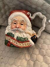 "FITZ & FLOYD CHRISTMAS SANTA FACE MUG 1993 ""A RIGHT JOLLY OLD ELF"""