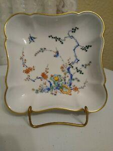 Limoges Castel France Porcelain Square Bowl Trinket Dish Tree Birds Flowers