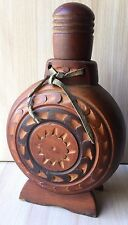 Vintage Collectible Traditional Balkan Alcohol Bottle Wooden Coated Hand Carved