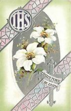 BB London Easter~IHS: White Lilies~Pink Stained Glass~Silver Filigree~Emboss