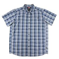 The North Face Tekware Men's Blue Plaid Short Sleeve Button-Up Shirt Size Large