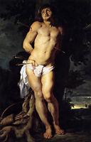 Oil painting Peter Paul Rubens - St Sebastian in sunset landscape Hand painted