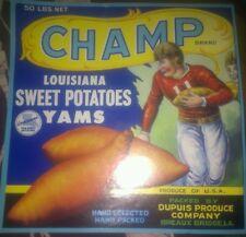1930s Louisiana Football sweet potatoe label Breaux bridge , La
