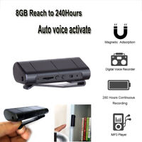 8GB Recording Digital Voice Activated Audio Recorders Dictaphone MP3 Magnet Clip