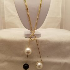 Three Black And White Pearl Pin Pendant Necklace