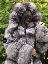 NEW 2017 IMPERIAL SAGA SILVER FOX FUR SWING COAT WITH MASSIVE HOOD SILBERFUCHS