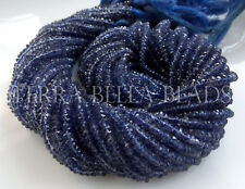 "13"" strand blue IOLITE faceted gem stone rondelle beads 3mm WATER SAPPHIRE"
