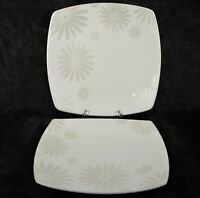"222 Fifth Alice Platinum 10"" Square Dinner Plate - White Floral - LOT of 2"