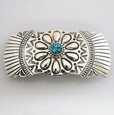 Handmade Native American Sterling Silver Spiderweb Turquoise Barrette