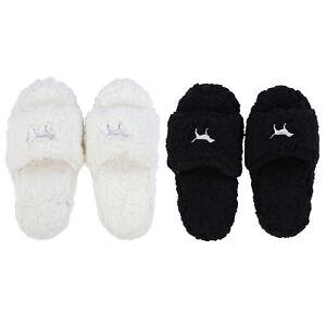 Victoria's Secret Pink Slippers Sherpa Footwear House Shoe Logo Slide On New Nwt