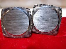 Vtg Stylist Brushed Silver Diamond Cut Square Engraveable Cufflinks Original Box