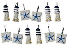 12 Shower Curtain Decorative Hooks Lighthouse Light House & Starfish