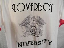 LOVERBOY University Ringer T-Shirt LARGE (2-Sided) White w/ Red 100% Cotton
