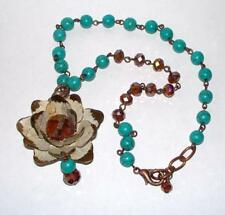 Vintage Enamel Flower Necklace Turquoise and Copper Colored Crystal Beads