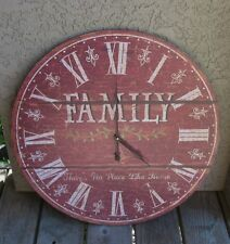 *BiG Face Wall RED Family CLOCK*Primitive/French Country Farmhouse Home Decor