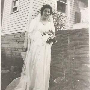 Vintage 1946 Black and White Photo Bride Woman Long Veil Wedding Gown Bouquet