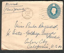 England 1950 postal cover & letter Roy Moseley Worthing to Mgm Metro Goldwyn