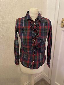 Ralph Lauren Checked Tartan Ruffle Shirt Age 14