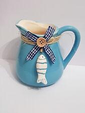Kanne Kännchen Vase blau maritim Keramik Fisch Deko Sommer Tischdeko Meer